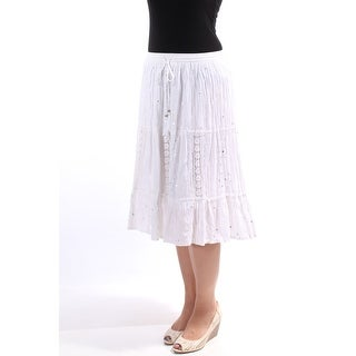 NY COLLECTION Womens New 1036 White Sequined Embroidered Peasant Skirt M B+B
