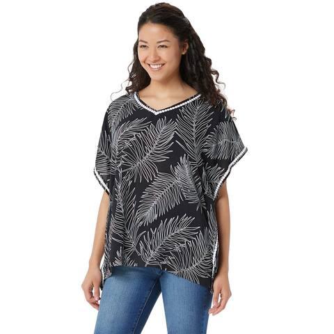 Cuddl Duds Womens Sun Cool Breeze Short-Sleeve Top Plus 2X Black Palm A346887
