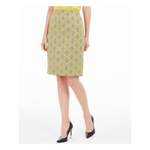 KASPER Womens Yellow Geometric Knee Length Pencil Skirt Size 16