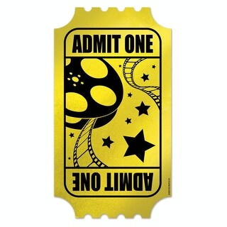 """Pack of 24 Hollywood Movie Night Foil Golden Ticket Party Cutout Decorations 15"""""""