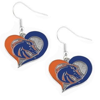 Boise State Broncos Swirl Heart Dangle Logo Earring Set Charm Gift NCAA