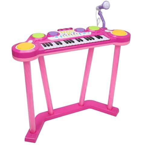 Costway 37 Key Electronic Keyboard Musical Piano Organ Drum Kids w/ Microphone MP3 Input - Pink