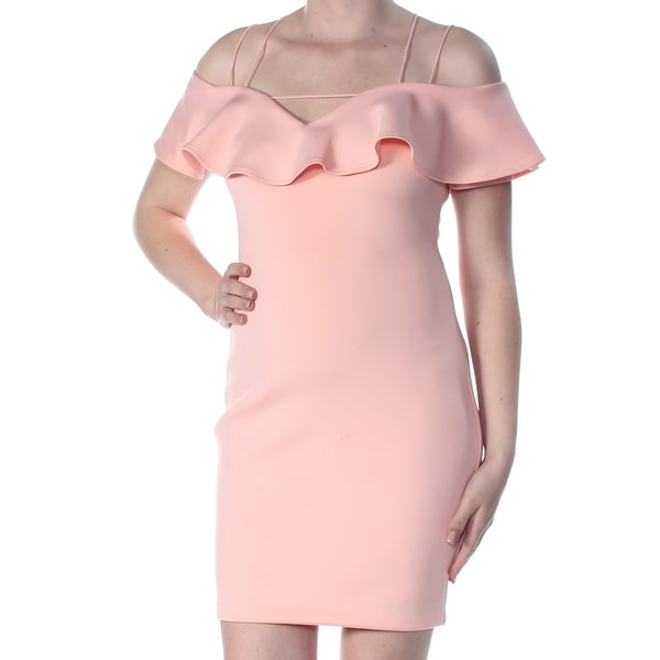 b903f352e65cf Shop GUESS Womens Pink Cold Shoulder Off The Shoulder Short Sleeve V Neck  Above The Knee Body Con Cocktail Dress Size: M - Free Shipping On Orders  Over $45 ...