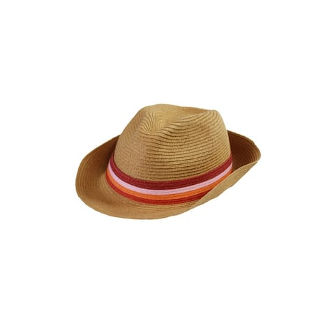 August Hat Tan Pink Stripe Band Fedora Hat OS