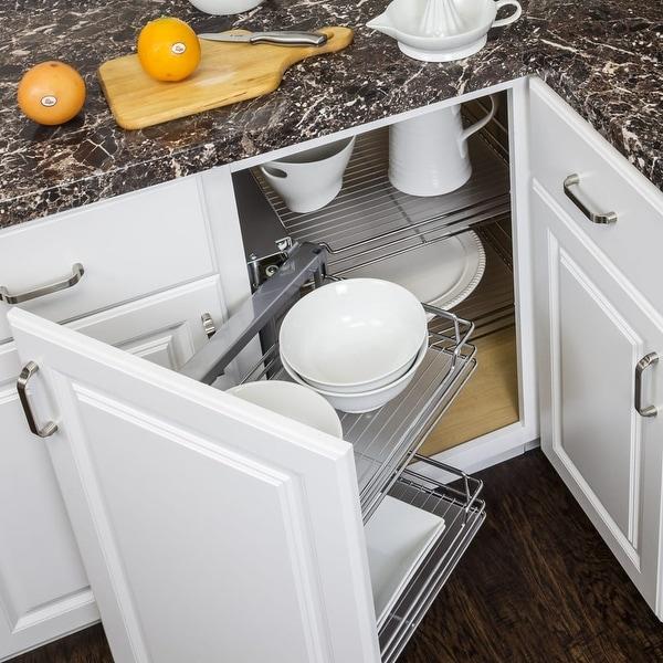 Hardware Resources Cs Sdco Sliding Basket Blind Corner Cabinet Organizer For Fra Polished Chrome Free Shipping Today 22917988