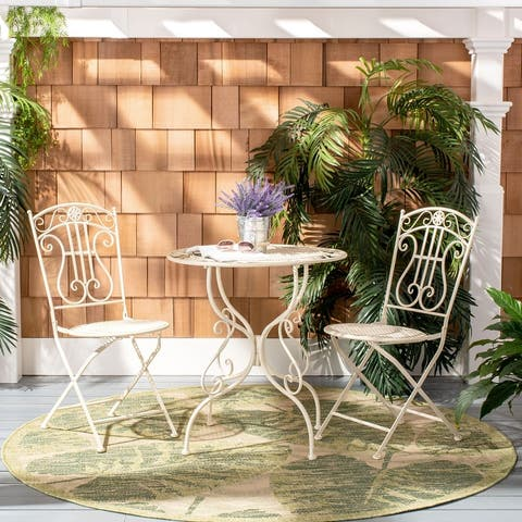 "Safavieh Outdoor Living Semly 3Pcs Bistro Setting - TABLE: 27.5 ""x27.5""x29.5"" CHAIR: 17""x21.3""x35.5"""