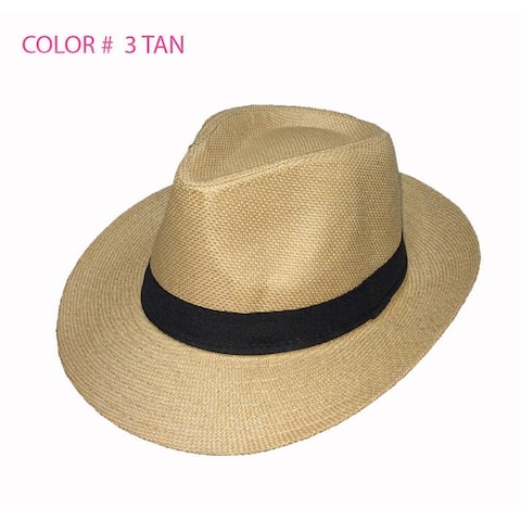 46de58a027896 Unisex Summer Panama Straw Fedora Hat Short Brim Beach Sun