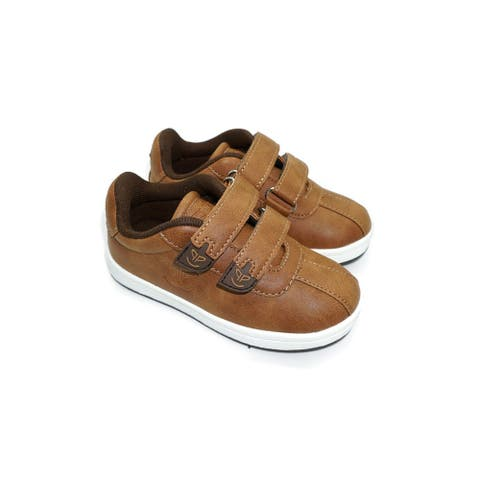 Pipiolo Boys Tan Brown Adhesive Strap Casual Sneakers