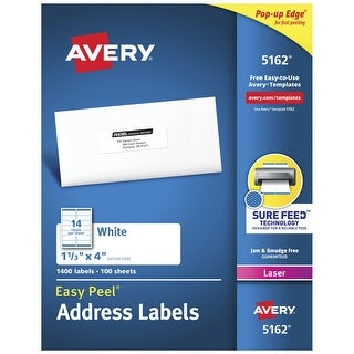 Avery Easy Peel Permanent-Adhesive Address Labels For Laser Printers, 1-1/3 x 4 in, White, Box of 1400