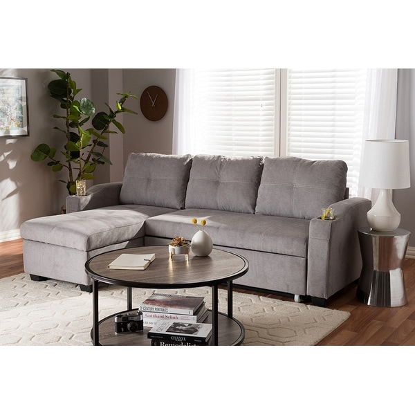 Lianna Light Grey Fabric Upholstered Sectional Sofa W Storage Chaise
