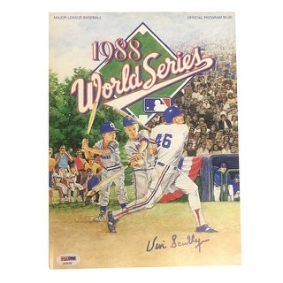 Vin Scully Autographed Dodgers 1988 World Series Signed Program Magazine PSA DNA COA 2