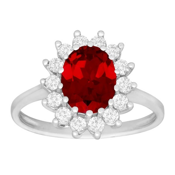 2 7/8 ct Ruby & White Sapphire Ring in 10K White Gold - Red