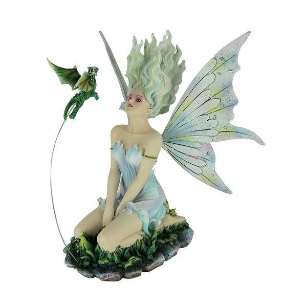 White Haired Sitting Fairy and Green Baby Dragon Statue - 10.25 X 10 X 7 inches