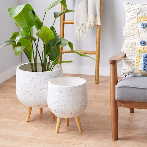 White MgO Contemporary Planter (Set of 2) - 15 x 15 x 17Round