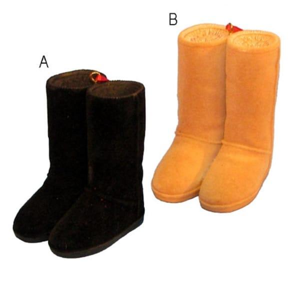 "3"" Fashion Avenue Orange Sherpa-Look Stylish Boots Christmas Ornament"