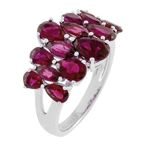 Graduated Pear-Shaped Rhodolite Garnet Cluster Ring, Sterling Silver