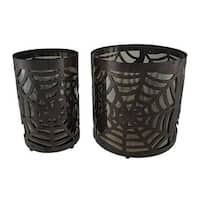 Set of 2 Metal & Glass Spiderweb Candle Holders