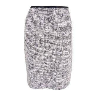 Calvin Klein Women's Petite Boucle Woven Pencil Skirt - WHITE/BLACK