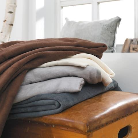 IBENA Porto Full/Queen Solid-color Jacquard Velour Throw Blanket