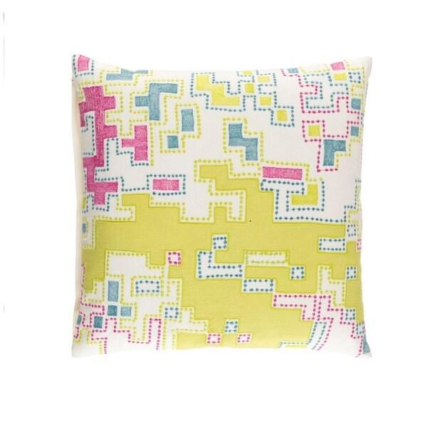 "22"" Lemon Yellow and Purple Splash Woven Decorative Throw Pillow"