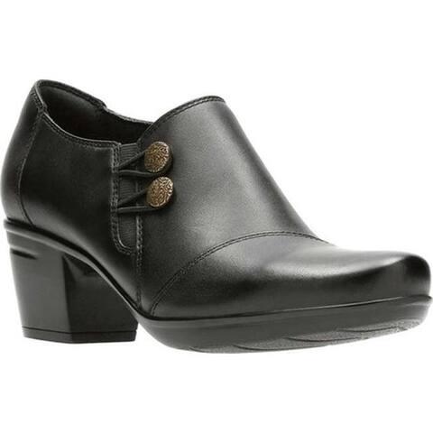 Clarks Women's Emslie Warren Bootie Black Full Grain Leather