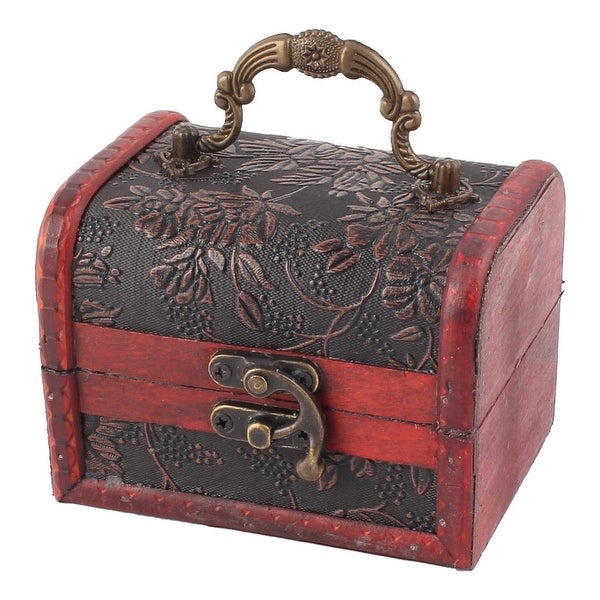 Home Ornament Wood Flower Pattern Ring Jewelry Candy Box Case Organizer Dark Red