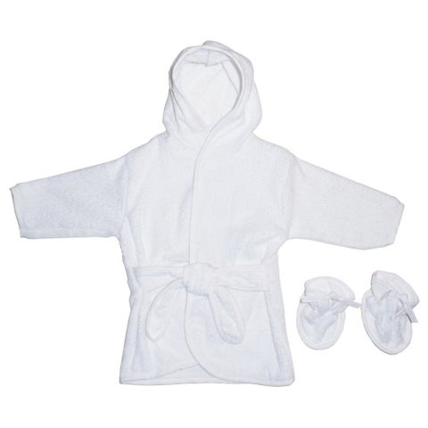 Bambini Baby Unisex White Solid Color Terry Booties Hooded Bath Robe - 0-12 months