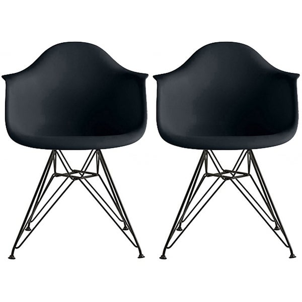 Set of 2 - Modern Plastic Armchair with Black Eiffel Wire Legs Dining Molded Arm Chair. Opens flyout.