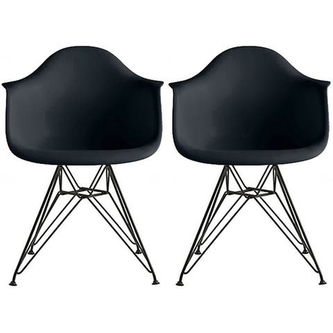 Set of 2 Color Modern Arm Chairs For Dining Room Kitchen Solid Molded Plastic Seat Dark Black Wire Eiffel Legs DSW