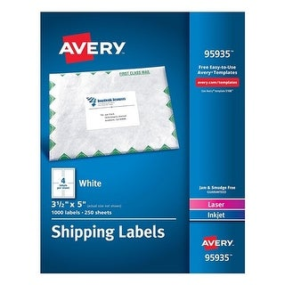 Avery White Shipping Labels White Shipping Labels, Inkjet/Laser