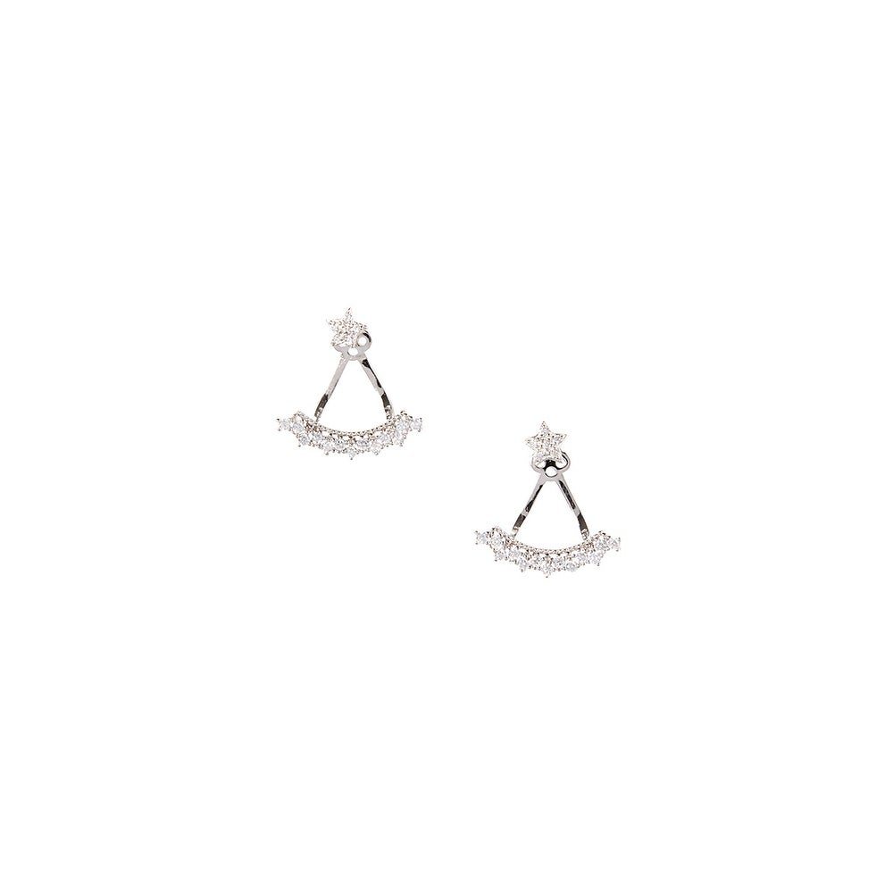 925 Sterling Silver Curve Bar Ear Jacket with Star Stud - Thumbnail 0