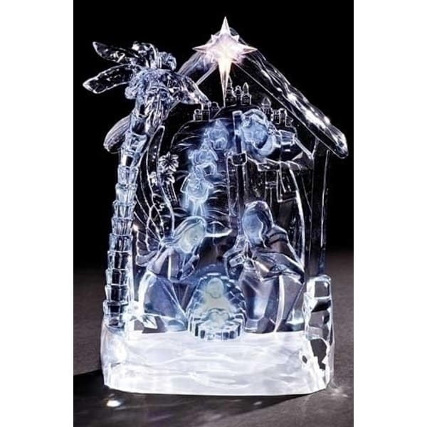 """8.5"""" Icy Crystal LED Lighted Nativity Scene Christmas Table Top Figure - CLEAR"""