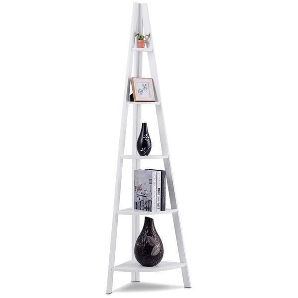 Shop Costway 5 Tier Corner Ladder Shelf Floor Stand ...