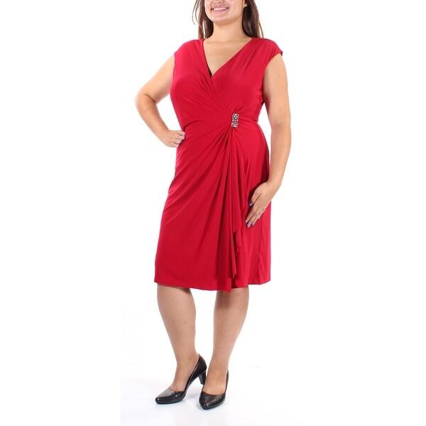 Shop AMERICAN LIVING Womens Red Cap Sleeve V Neck Below