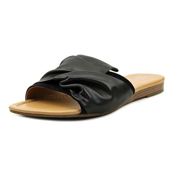 Franco Sarto Gracelyn Women Open Toe Leather Black Slides Sandal