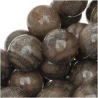 Natural Brown And Gray Striped Agate 8mm Round Beads /15.5 Inch Strand