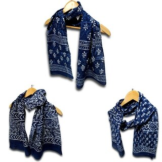 Scarf for Women Sheer Soft Cotton Block Print Scarf Dabu Floral Blue - 72 x 15 inches