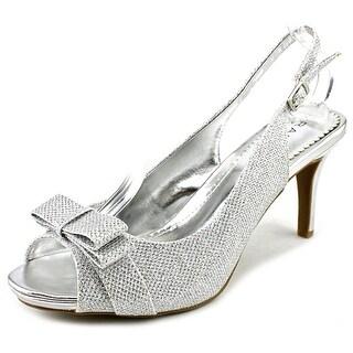 Rampage Fredricka Women Open-Toe Canvas Silver Slingback Sandal