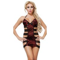 Strappy Side Halter Chemise - Red/Black - One Size Fits Most