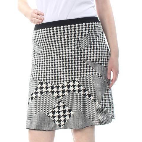 GRACE ELEMENTS Womens Black Houndstooth Above The Knee A-Line Skirt Size: XL