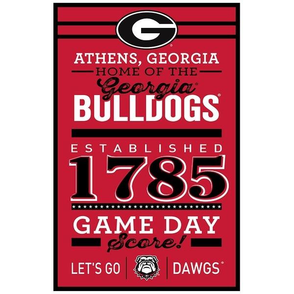 Georgia Bulldogs Sign 11x17 Wood Established Design