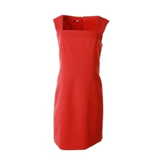 4.collective Womens Basket Weave Square Neck Wear to Work Dress
