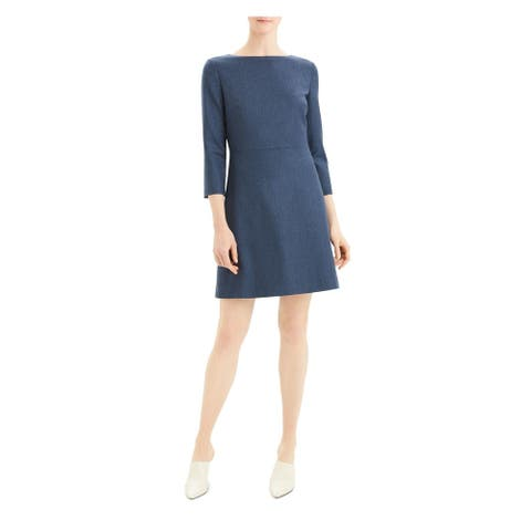 THEORY Blue Wool Blend 3/4 Sleeve Above The Knee Dress 2