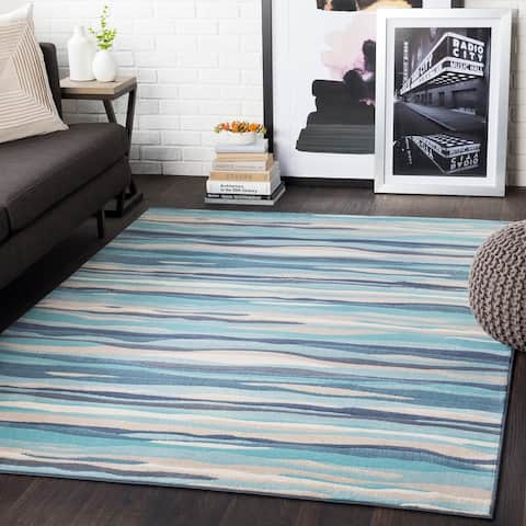 Colton Aqua Wavy Stripes Area Rug