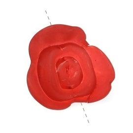 Lucite Rose Flower Beads Matte Dark Red 15.5mm (10)