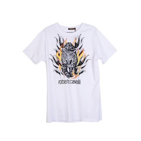 Roberto Cavalli Mens White Cotton Logo Tiger Flame Graphic T Shirt
