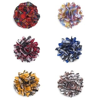 Plaid Lapel Flower Boutonniere - One size