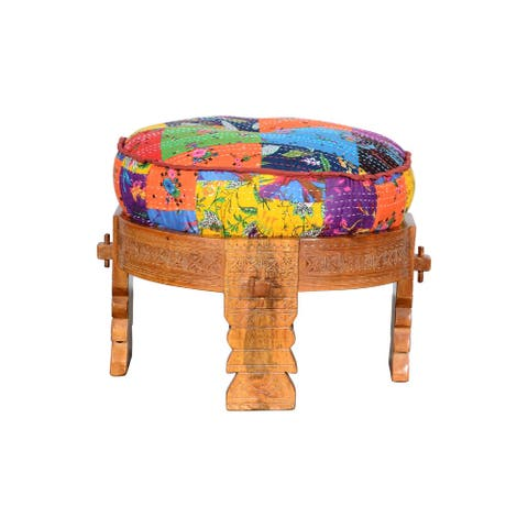 Hand Carved Wooden Round Ottoman with Cushioned Top, Multicolor