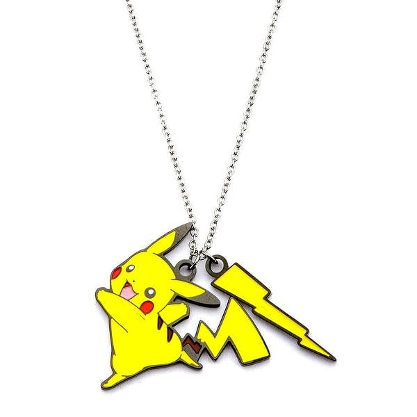Pokemon Women's Stainless Steel Pikachu Lightning Bolt Enamel Pendant with Chain