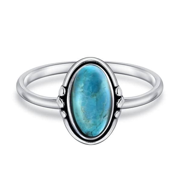 Southwest Boho Genuine Arizona Turquoise Sterling Silver Rings .925 Western Size 6 34